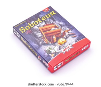 Karlsruhe, Germany - April 28, 2015. Saboteur card game isolated on white. Saboteur is a mining-themed card game, designed by Frederic Moyersoen and published in 2004