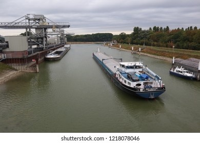 Karlsruhe / Germany - August 24 2018: Harbour of Karlsruhe at river rhine (Rheinhafen Karlsruhe)