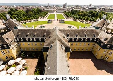 KARLSRUHE, GERMANY - August 6, 2015: Views of the German city of Karlsruhe from the tower of Karlsruhe Palace (Karlsruher Schloss). Baden-Wurttemberg, Germany
