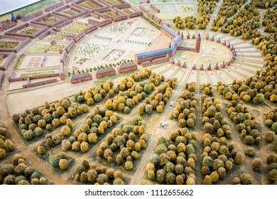 KARLSRUHE, GERMANY - August 6, 2015: Mockup miniature of Karlsruhe Palace (Karlsruher Schloss), with the multiple streets and roads that fork from its tower
