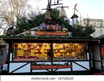 KARLSRUHE, GERMANY -DEZEMBER 10: Christmas market in Karlsruhe on December 10, 2013 in Karlsruhe, Germany. It is one of the biggest Christmas markets in the Baden-Wuertemberg.