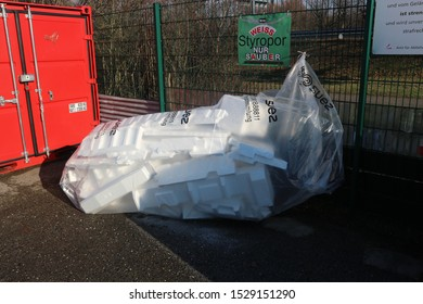 Karlsruhe, Germany, January 19th 2019, Big plastic bag that contains pieces of polystyren packaging that will be transported for recycling.
