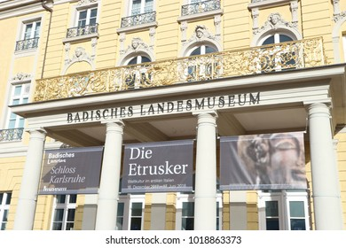 "Karlsruhe, Germany, January 21st 2018, Entrance of the ""Badisches Landesmuseum"" featuring a banner for an exhibition on the Etruscan civilization"