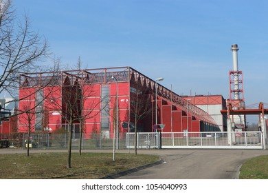 Karlsruhe, Germany, March 25th 2018: Municipal solid waste pyrolysis plant in the city of Karlstuhe (Thermoselect Technology). The plant has shut down in 2005 due to technical problems.