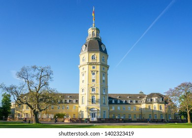 Karlsruhe, Germany - May 14, 2019: View of the Karlsruhe Palace on a sunny summer morning, Germany