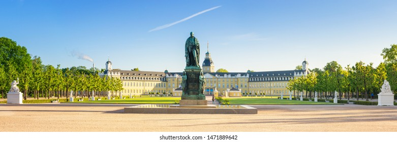 Karlsruhe, Germany - May 3, 2019: View of the Karlsruhe Palace on a sunny summer morning, Germany