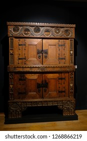 Karlsruhe, Germany - November 24, 2017: Antique carved oak wardrobe, Karlsruhe Palace