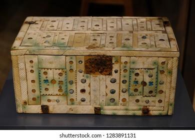 Karlsruhe, Germany - November 24, 2017: Mysterious antique casket, Karlsruhe Palace