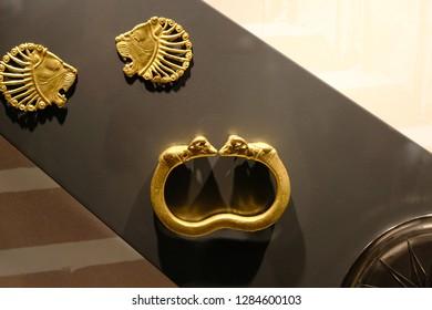 Karlsruhe, Germany - November 24, 2017: Gold antiquarian jewellery, Karlsruhe Palace
