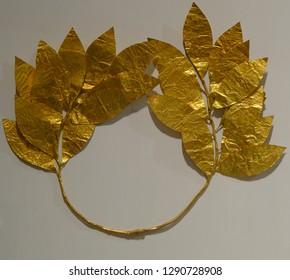 Karlsruhe, Germany - November 24, 2017: Wreath of golden leaves, Karlsruhe Palace