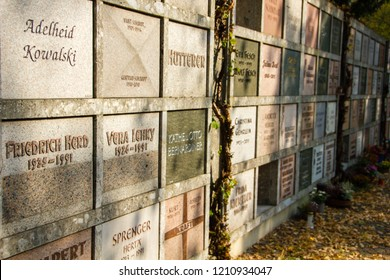 Karlsruhe/ Germany - Ocotber 15 2018: Columbarium wallwhere urns of burned dead bodies can be buried on a cemetery next to a crematory of a city