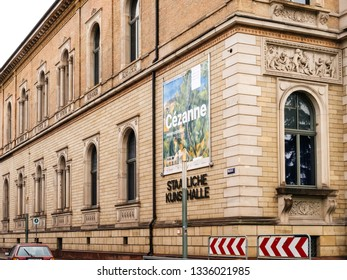 Karlsruhe, Germany - Oct 29, 2017: Staatliche Kunsthalle Karlsruhe State Art Gallery on Hans-Thoma-Strasse with Cezanne painter exibition banner