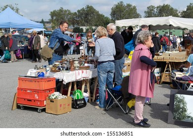 KARLSRUHE, GERMANY - SEPTEMBER 21: Weekend flea market  at Messplatz on September 21, 2013 in Karlsruhe, Germany. Flea market in at Messplatz Karlsruhe is one of the biggest in the South Germany.