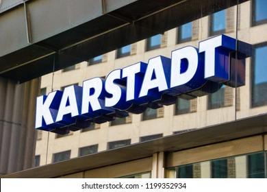 bdaca7b40b Karlsruhe/ Germany - September 30 2018: Karstadt logo on the outside of the  store