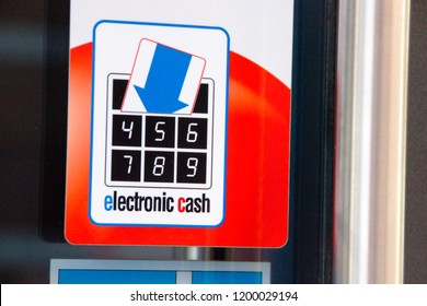 Karlsruhe / Germany - September 30 2018: Electronic Cash Payment Symbol (EC), so the customer knows he can pay not only cash but also any EC Card such as debit cards are accepted