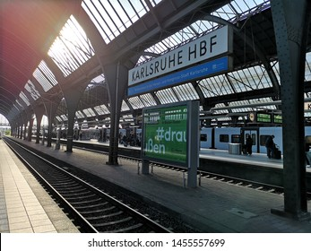 Karlsruhe,Germany - April 12, 2019: Main Platforms at Karlsruhe Hauptbanhof (main train station). The station is classified as a Category 1 as it is a major hub where several railways connect.