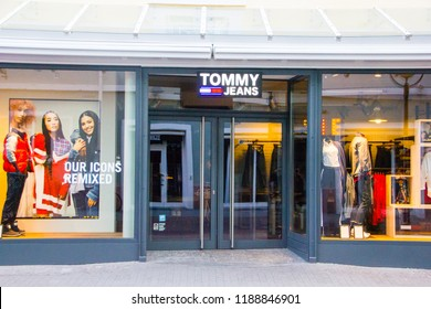 Karlsruhe/Germany - September 21 2018: Tommy Jeans retail chain, sub brand form Tommy Hilfiger, with logo in the front of the shop, an international fashion store chain