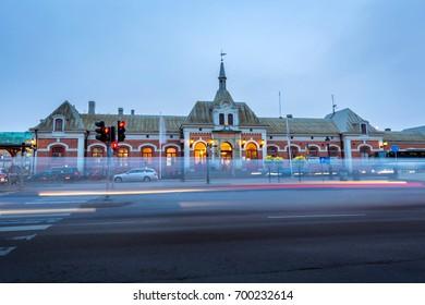 Karlstad central railway station at dusk in sweden