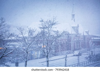 Karlstad central railway station with snow storm in winter, Sweden
