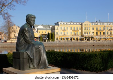 Karlstad, Sweden - April 11, 2019: Statue of the Swedish author and Nobel laureate in literature Selma Lagerlof by artist Arvid Backlund.