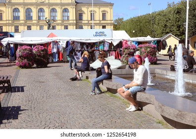 Karlstad, Sweden - August 16, 2016: Part of the Karlstad town square.