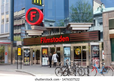 Karlstad, Sweden - August 7, 2019: Exterior view of the movie theater Filmstaden located at the Drottninggatan street.