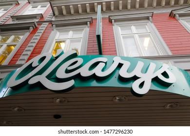 Karlstad, Sweden - August 7, 2019: The sign above the entrance to the O'Learys pub and restaurant located at the Tingvallagatan street.