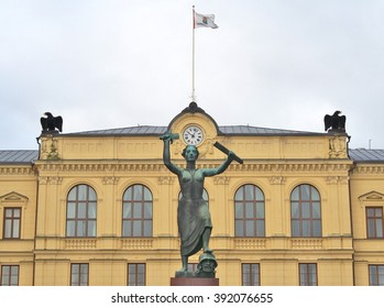 KARLSTAD, SWEDEN - FEBRUARY 21, 2016: Peace Monument at Town Square of Karlstad, Sweden. This Monument was erected in 1955 to commemorate the dissolution of the union between Sweden and Norway.