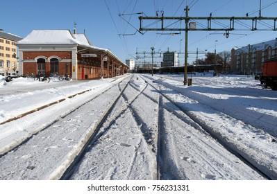 KARLSTAD, SWEDEN - FEBRUARY 23, 2010: Karlstad central station in winter, Karlstad, Sweden