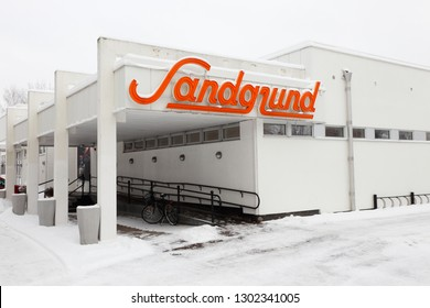 Karlstad, Sweden - January 31, 2019: The Sandgrund building containg the Lars Lerin museum.