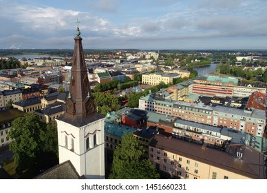 Karlstad, Sweden - July 13, 2019: Aerial view of the Karlstad city center with cathedral in the foreground.