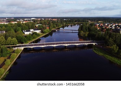 Karlstad, Sweden - July 13, 2019: Aerial view of the river Klaralven and the Tingvalla bridge.
