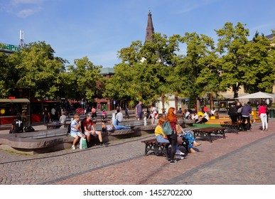 Karlstad, Sweden - July 13, 2019: View of the Karlstad town square.