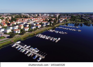 Karlstad, Sweden - July 14, 2019: Aerial view of the Marieberg district and the marina in lake Vanern.