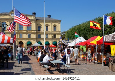 Karlstad, Sweden - July 26, 2019: International food event with representation from countrys around the world hosted at the town square.