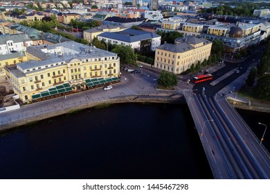 Karlstad, Sweden - July 4, 2019: Aerial view of Karlstad city center with the Vastra bridge in the bottom right and the Stadshotellet hotel building at bottom left.