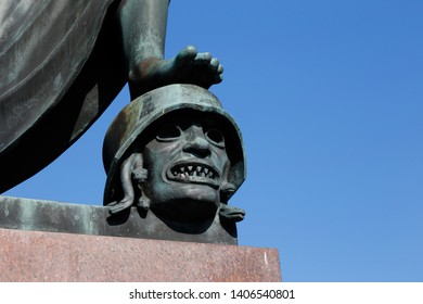 Karlstad, Sweden - May 22, 2019: Detail of the peace monument erected 1955  in remembrance of the union dissolution between Sweden and Norway in 1905 by Ivar Johnsson, located at the town square.