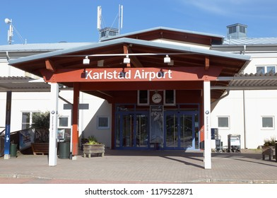 Karlstad, Sweden - May 26, 2016: Entrance to the Karlstad airport terminal building.