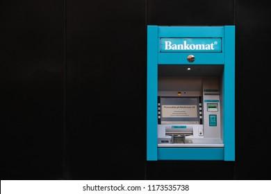 KARLSTAD, SWEDEN - SEPTEMBER 1, 2018: Bankomat cash machine in Karlstad city centre, Sweden