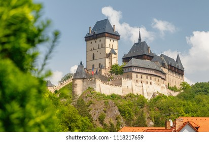 Karlstejn castle, founded 1348 CE by Charles IV, Holy Roman Emperor-elect and King of Bohemia. Located in Karlstejn village, Czech Republic