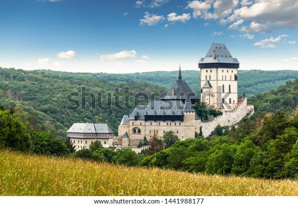 Karlstejn Castle. Summer day. Czech Republic.
