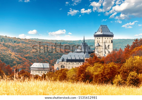 Karlstejn gothic castle near Prague. Autumn day.
