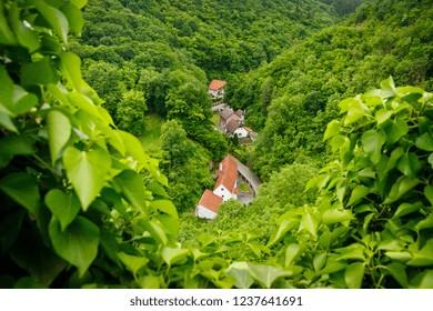 Karlstejn village from the castle, bird eye view. Central Bohemian Region of the Czech Republic