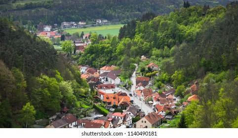 Karlstejn village panorama, bird eye view. It is a small market town in the Central Bohemian Region of the Czech Republic