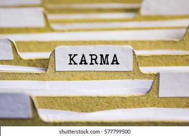 Karma word on card index paper