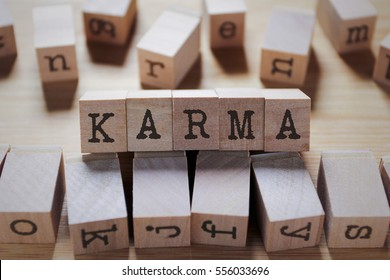 Karma Word In Wooden Cube