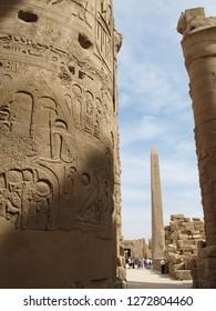 Karnak, Luxor / Egypt - 05/20/2013: The obelisk inside the Karnak temple complex