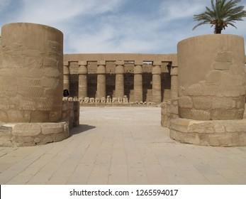 Karnak, Luxor/Egypt - 05/20/2013: the columns of the Karnak temple complex