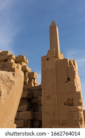 Karnak Temple, Colossal sculptures of ancient Egypt in the Nile Valley in Luxor, Embossed hieroglyphs on the wall.