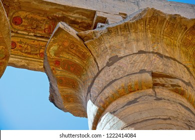 The Karnak Temple Complex. Detail of construction with hieroglyphs of the Great Hypostyle Hall from the Precinct of Amun-Re. The structure was built 1290–1224 BC.